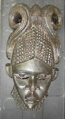Vintage Hand Carved Solid Hard Wood African Mask Signed And Dated