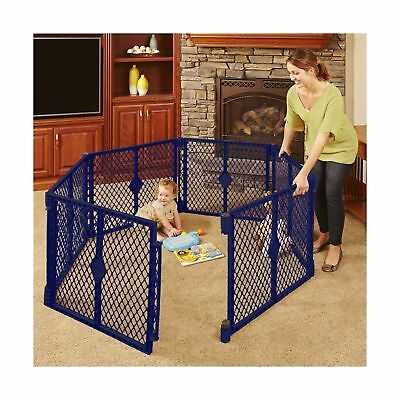 6 Panel Portable Baby Safety Gate Play Yard Pen Playpen Indoor Outdoor Blue