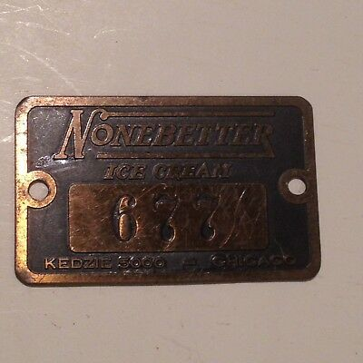 Antique Brass Tag None Better Ice Cream Machine Industrial Chicago Jewelry Tag