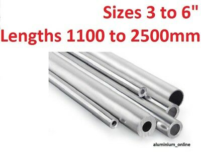 "ALUMINIUM ROUND TUBE 3"" inch 3.1/4"" 3.1/2"" 4"" 5"" 6^ inch select size and length"