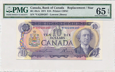 BANK OF CANADA 10 Dollars 1971 BC-49cA - PMG 65 Gem UNC EPQ - Replacement Note
