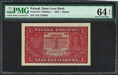 1919 1 Marka Poland State Loan Bank Note P23 PMG Choice UnCirculated 64 EPQ