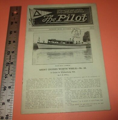 1 The Pilot Magazine Oct,1910 Detroit Motor Boat Club Engine Yacht Racing