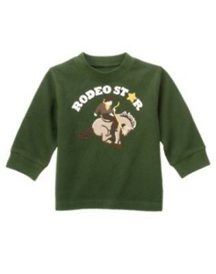 NWT 3T 3 Years Gymboree RODEO COWBOY Green Ribbed Knit Rodeo Star L/S Top Shirt