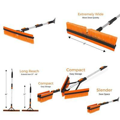 """46"""" Extendable Snow Brush With Squeegee Ice Scraper Foam Grip For Car Truck Suv"""