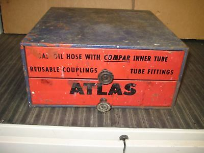 Vintage Atlas Tube Fittings Metal Drawers Cabinet Standard Oil Advertising