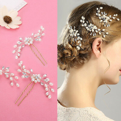 Nice Wedding Bridal Pearl Flower Crystal Hair Pins Bridesmaid Clips Side Comb