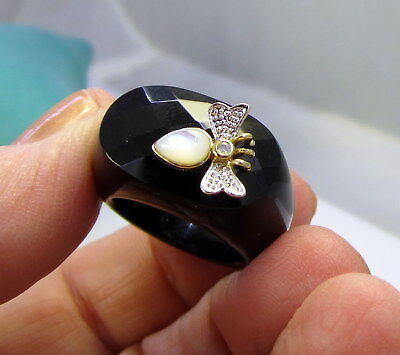 Estate Vintage Huge Stunning Onyx 14k Gold Diamond Dragonfly 10.7 Gram Ring