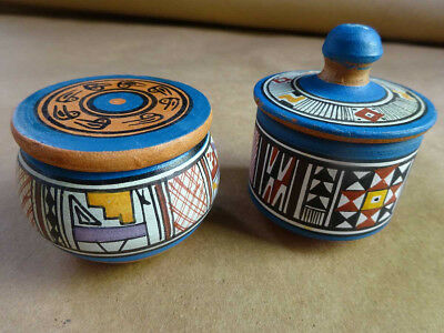 Two Vintage Peru Hand Painted Pottery Pots With Lids Made in Cusco, Peru