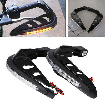 "2x 7/8"" Motorcycle Handlebar Mounting Hand Guard Protector With LED Signal Light"