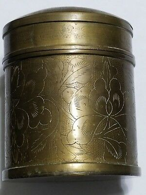 Antique Chinese Export Engraved Etching Brass Tea Caddy Box Container