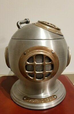 Vintage 1970 Deep Sea Nautical Diving Helmet Ice Bucket LIVORNO 1894 made Italy