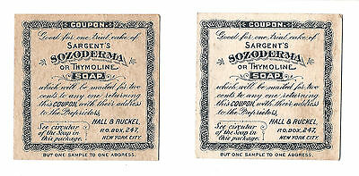 Sargent's Sozoderma or Thymoline Soap; Victorian Trade Cards 1890s