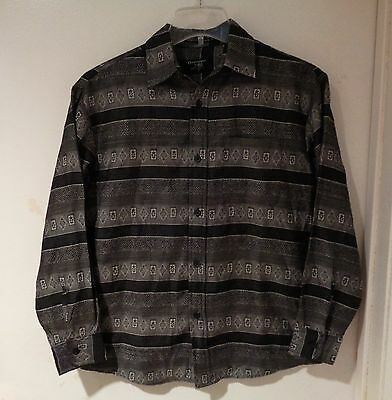 VTG EMBLEM CREST PRINT SHIRT 50s STYLE LONG SLEEVE BLACK GRAY 80s BOYS 14 MEN S