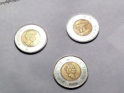 3 Canada $2 Two Dollar Coins Toonie 1996(2) 1996-2006(1)   -    Canadian
