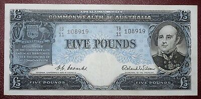 1954 Five Pound Note Stunning aUNC-UNC Condition - Coombs/Wilson - 99c NR !!!