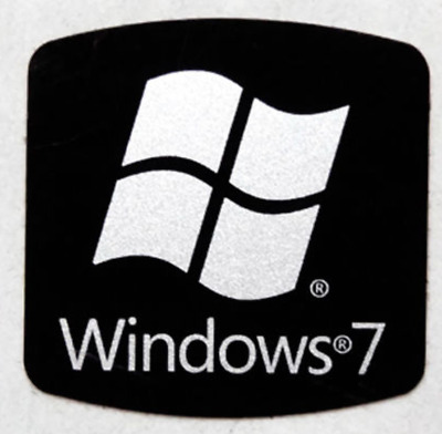 1x Windows 7 Replacement Black Stickers Decal Badge Microsoft 18mm x 18mm