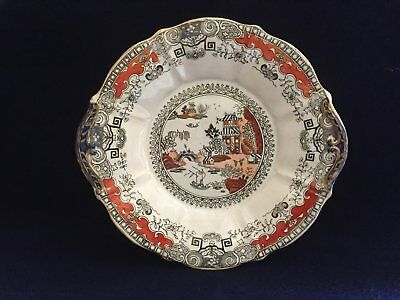 Antique Gaudy Willow Ironstone Cake Plate (C1880 - 1890)