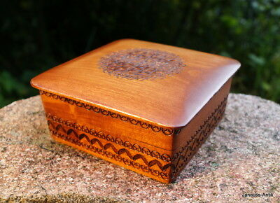 Antique Wooden Box Covered Dish Exotic Wood Walnut Handmade Fine & Valuable
