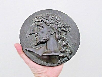Antique Bronze Round Plaque Head of Jesus Christ - Signed M Thomas - Top Quality