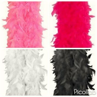 Ladies Feather Boa Girls Pink Black White Hen Night Burlesque Flapper 150 cm