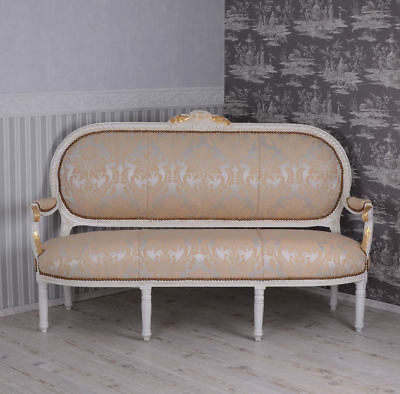 French Rococo Sofa White Bench Antique Baroque Sofa pageantry wood Louis XV