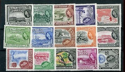British Guiana QEII 1954-63 definitive set of 15 SG331/45 MNH