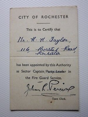 WWII certificate/identity card AFS ROCHESTER