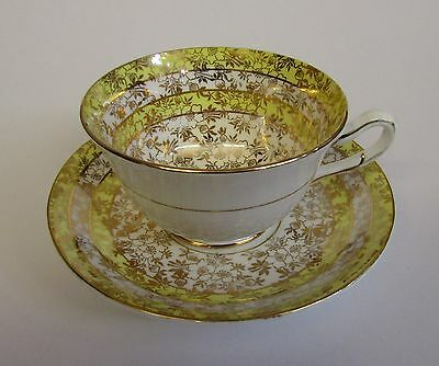 Vintage Yellow & Gold * Tea Cup & Saucer * Phoenix Bone China * Made In England