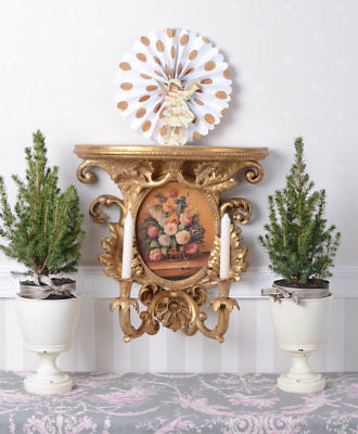 Candelabrum Baroque Console Table Wall Lights Gold Flower Painting Wall Console