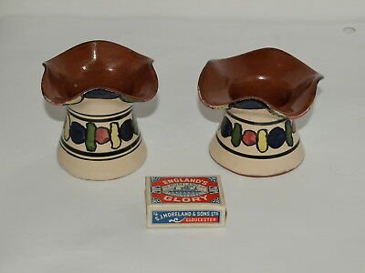 Two Flared Rim Torquay Pottery Posy Vases With Bright Art Deco Decoration