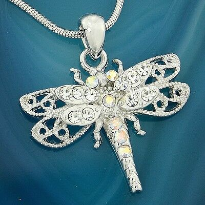 "DRAGONFLY Made With Swarovski Crystal Clear AB Color 18"" Chain Pendant Necklace"