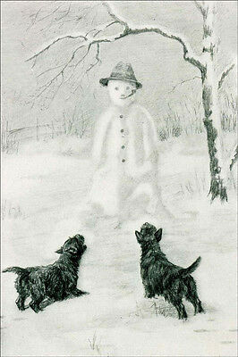 Cairn Terrier Dogs vs Snowman 1934 M. Kirmse ~ LARGE New Blank Note Cards