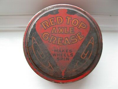 Rare 1910's 1920's GULF RED TOP Axle Tin Oil Grease Can Sign