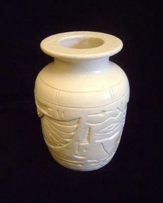 Egyptian Pottery Urn / Vase Carved & Painted Hieroglyphics: Wide Rim 15cm High