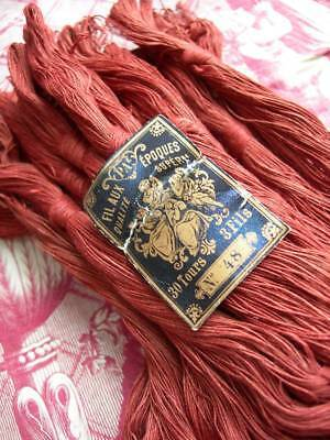 Convent find - 24 skeins unused antique French red linen thread