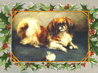Pekingese Dog by Florence Jay With Toy ~ 8 LARGE New Christmas Note Cards