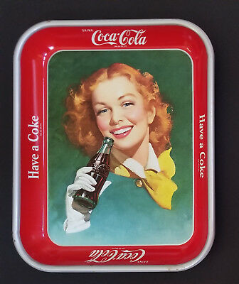 2 Vintage 1948 - 1950's Coca-Cola  trays red hair girl w/ yellow scarf Near Mint