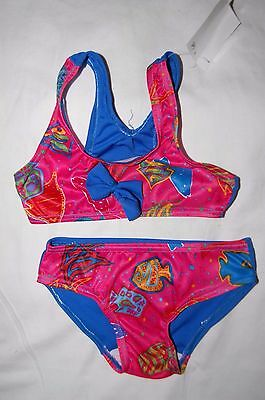 Bikini with Bow Sea Creatures Front Plain Blue Back Age 18-24 Months BNWT