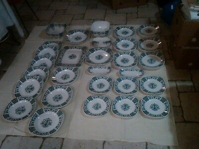 Gien Service De Table 50 Pieces Modele Carre Bleu