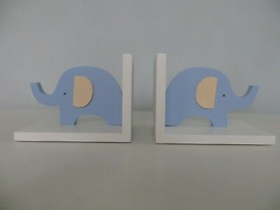 Petit Cheri Collection | Pair Wooden Book Ends | Blue Elephants | Kids Nursery