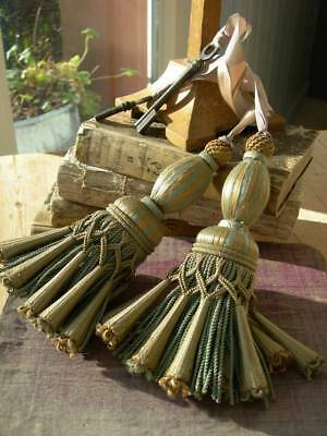 Pair large antique French intricate passementerie key tassel with keys