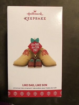 Hallmark Keepsake 2017 Dress Shoes Like Dad AND Son Dated Christmas Ornament NEW