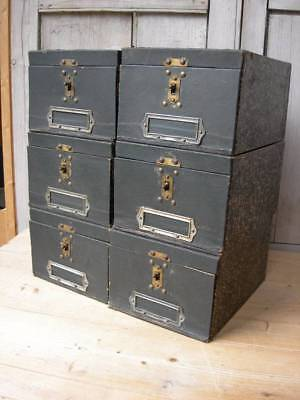 Set of 6 vintage 1930s French storage boxes w. brass fittings