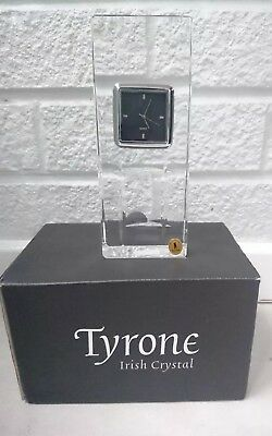 NEW Tyrone Crystal Hand Made in Ireland CUBIS Mantel Clock with Quartz Movement