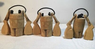 3 VTG  Primitive Wooden Cattle Cow Bell ? Livestock Elaborate w/ Knockers