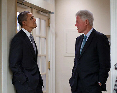 AB-464 PRESIDENT BARACK OBAMA WITH BILL CLINTON IN 2012-8X10 PHOTO