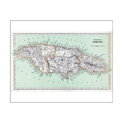 """10""""x8"""" (25x20cm) Print of MAPS/JAMAICA from"""