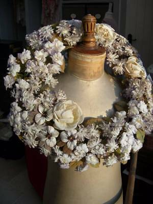 Exquisite antique French fabric flower handmade convent wreath 1890s - beautiful