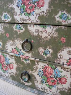 Pretty vintage French 1920s boudoir box chest of drawers - florals / roses